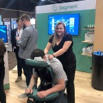 Dana of Massage Frog at Segment booth in Las Vegas